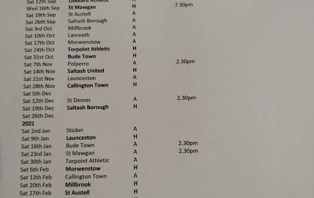 The St Piran Football League East Fixtures Released