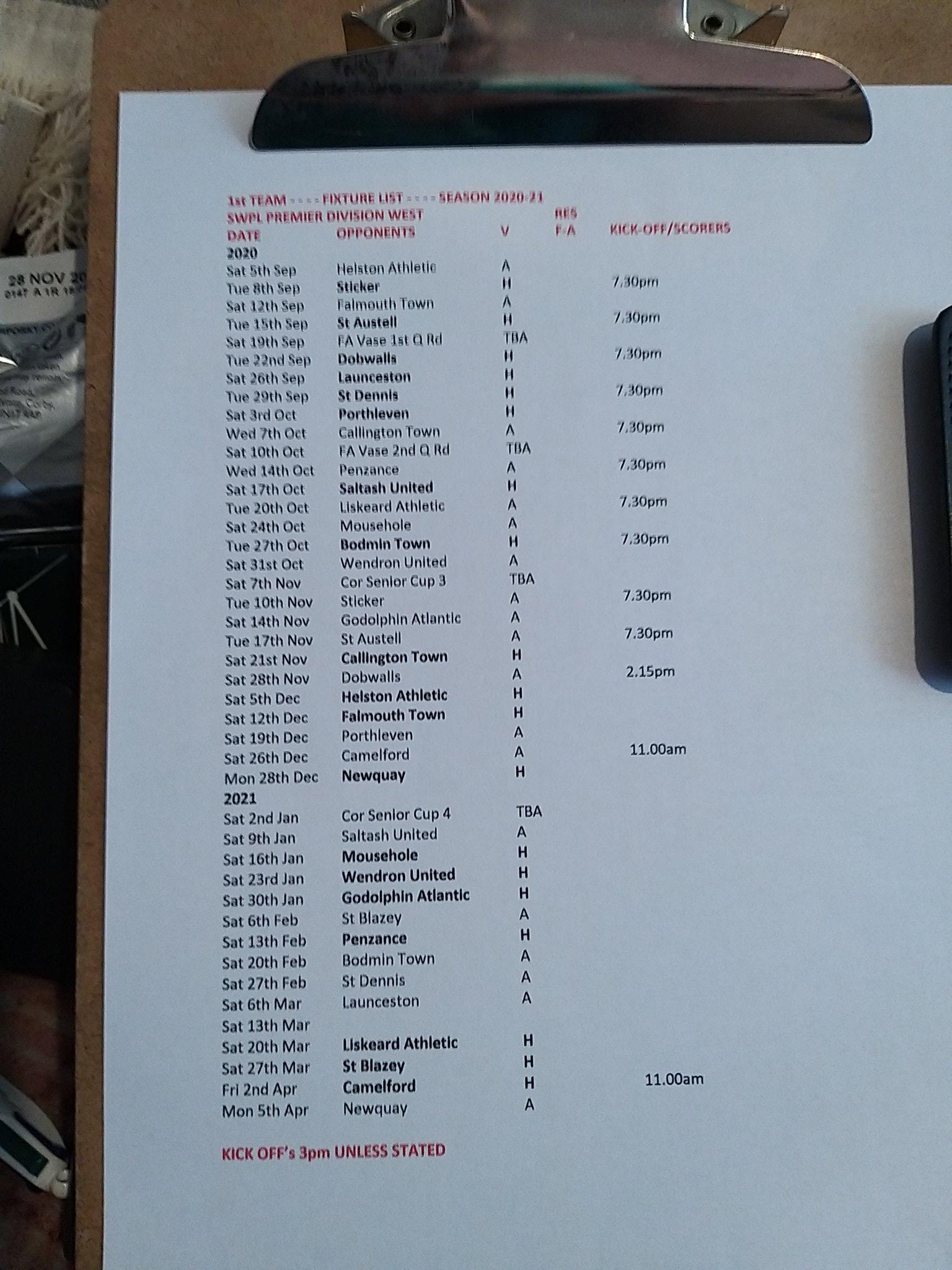 SWPL Premier Division West - Fixtures for 20/21