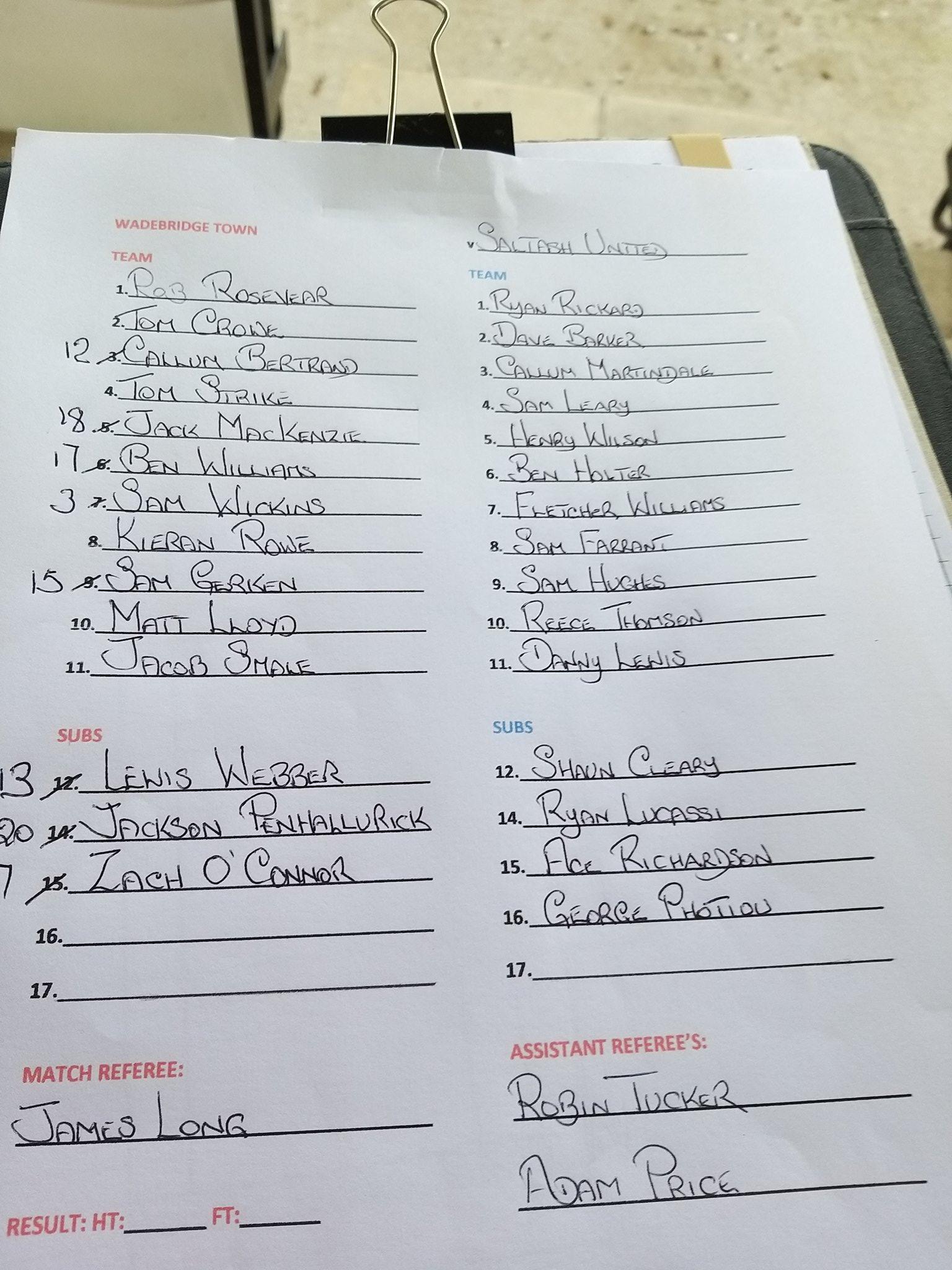 Matchday Squads v Saltash United