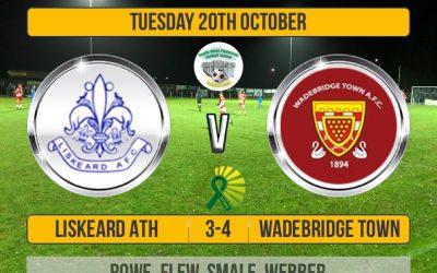 Match Report: Liskeard Athletic 3 v 4 Wadebridge Town