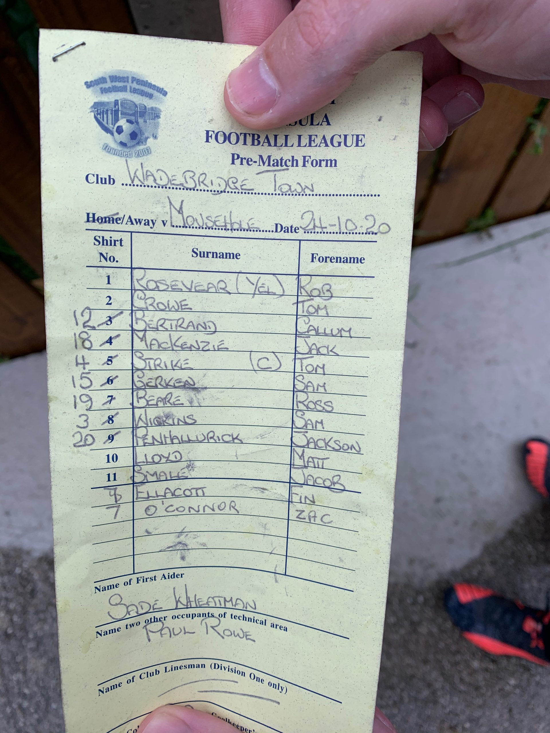 Matchday Squad - Wadebridge Town
