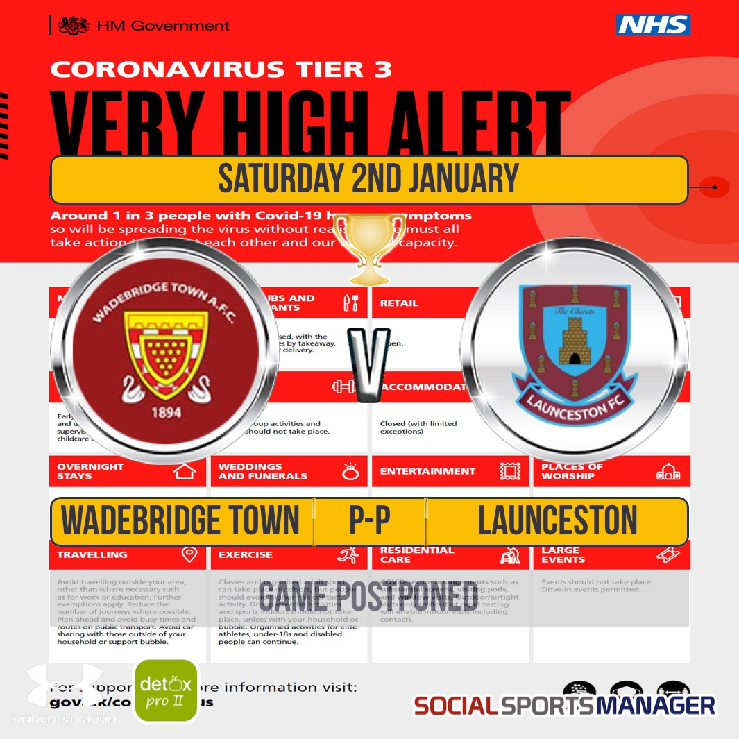 Game Postponed: Senior Cup Wadebridge Town v Launceston