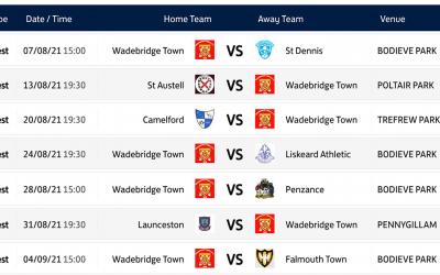 1st Team Fixtures Announced