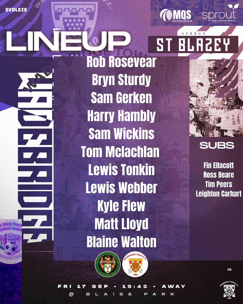 Lineup: St Blazey 1 v 2 Wadebridge Town