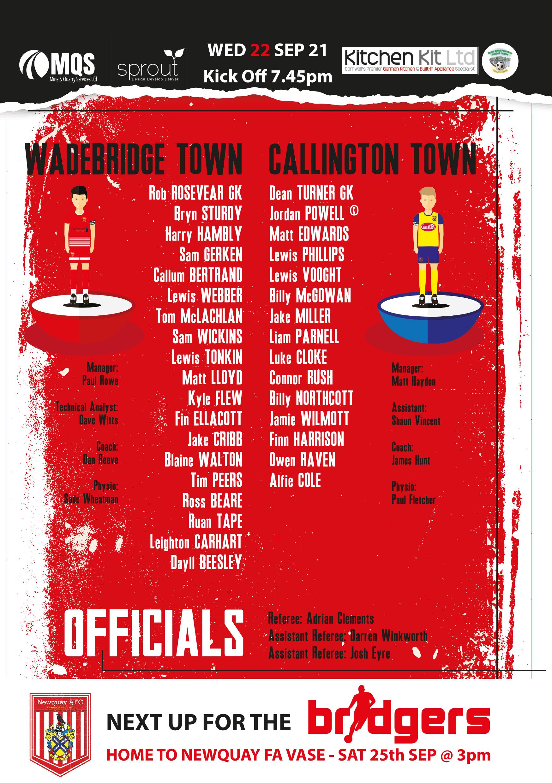 Squads: Callington Home 2021